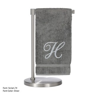 Monogrammed Bath Towel, 27 x 54 Inches - Set of 2 - Silver Script Embroidered Towel - Turkish Cotton - Script H Gray