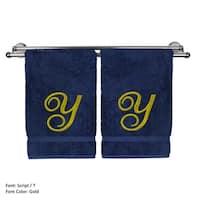 Gold Script Monogrammed Turkish Cotton 16x30-inch Hand Towel (set of 2) - Y