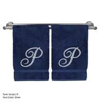Silver Script Monogrammed Turkish Cotton 16x30-inch Hand Towel (set of 2) - P
