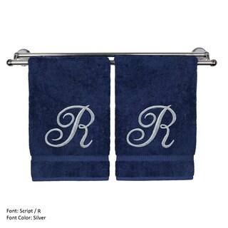 Silver Script Monogrammed Turkish Cotton 16x30-inch Hand Towel (set of 2) - R