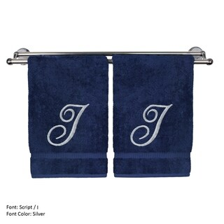 Silver Script Monogrammed Turkish Cotton 16x30-inch Hand Towel (set of 2) - I