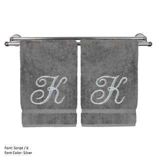 Monogrammed Washcloth - 13x13 Inches - Set of 2 - Silver Script Embroidered Towel - Turkish Cotton - Initial K Gray