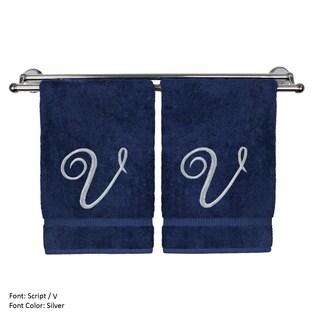 Silver Script Monogrammed Turkish Cotton 16x30-inch Hand Towel (set of 2) - V