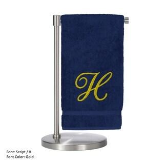 Gold Script Monogrammed Turkish Cotton 27x54-inch Bath Towel (set of 2) - H