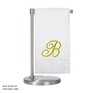 Gold Script Monogrammed Turkish Cotton 27x54-inch Bath Towel (set of 2) - B