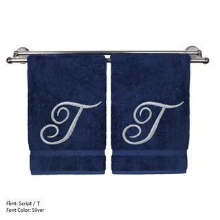 Turkish Cotton Silver Script Embroidered Initial T Navy Washcloth - Set of 2