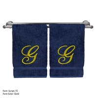 Gold Script Monogrammed Turkish Cotton 16x30-inch Hand Towel (set of 2) - G