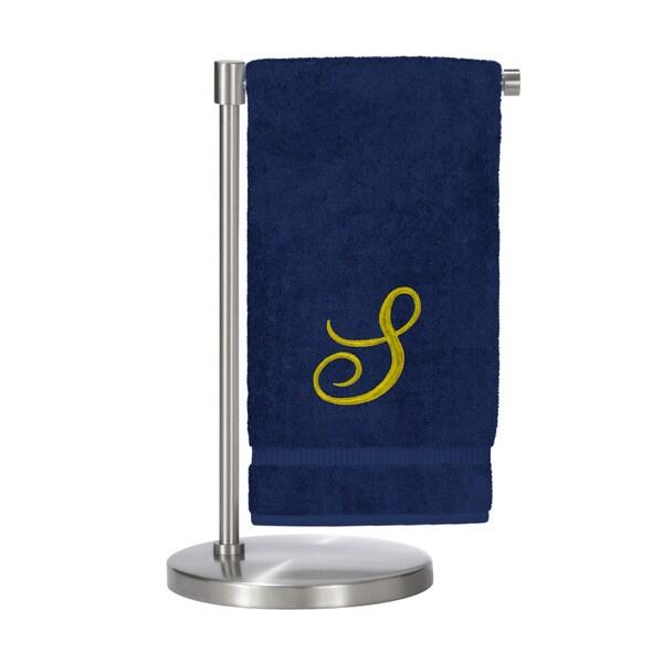 Gold Script Monogrammed Turkish Cotton 27x54-inch Bath Towel (set of 2) - S