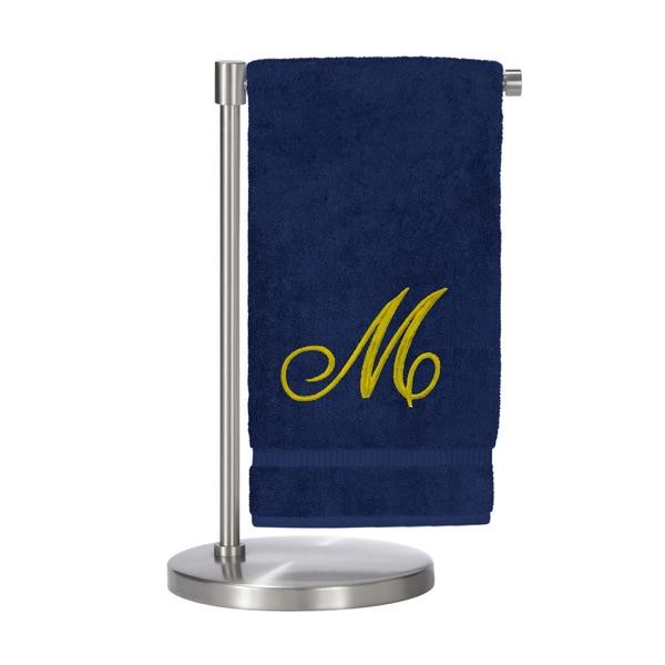 Gold Script Monogrammed Turkish Cotton 27x54-inch Bath Towel (set of 2) - M
