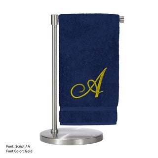 Gold Script Monogrammed Turkish Cotton 27x54-inch Bath Towel (set of 2) - A