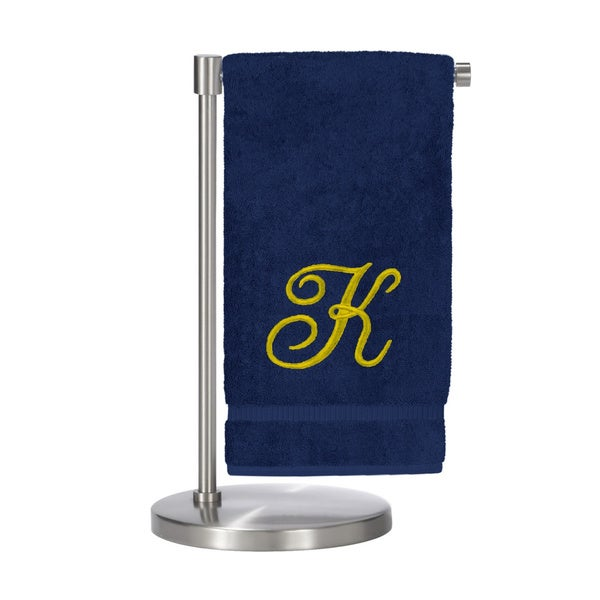 Gold Script Monogrammed Turkish Cotton 27x54-inch Bath Towel (set of 2) - K