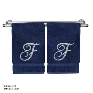 Monogrammed Washcloth - 13x13 Inches - Set of 2 - Silver Script Embroidered Towel - Turkish Cotton - Initial F Navy