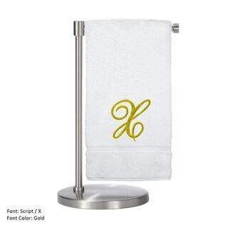 Gold Script Monogrammed Turkish Cotton 27x54-inch Bath Towel (set of 2) - X