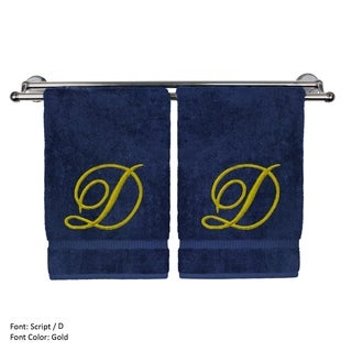 Gold Script Monogrammed Turkish Cotton 16x30-inch Hand Towel (set of 2) - D