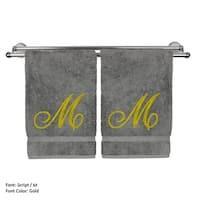 Gold Script Monogrammed Turkish Cotton 16x30-inch Hand Towel (set of 2) - M