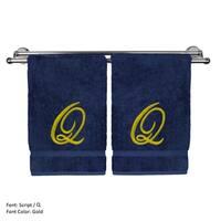 Gold Script Monogrammed Turkish Cotton 16x30-inch Hand Towel (set of 2) - Q