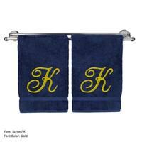 Gold Script Monogrammed Turkish Cotton 16x30-inch Hand Towel (set of 2) - K