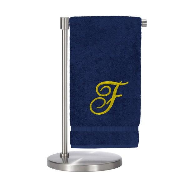 Gold Script Monogrammed Turkish Cotton 27x54-inch Bath Towel (set of 2) - F