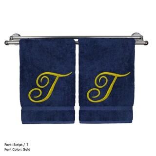 Gold Script Monogrammed Turkish Cotton 16x30-inch Hand Towel (set of 2) - T