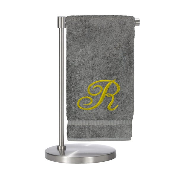 Gold Script Monogrammed Turkish Cotton 27x54-inch Bath Towel (set of 2) - R