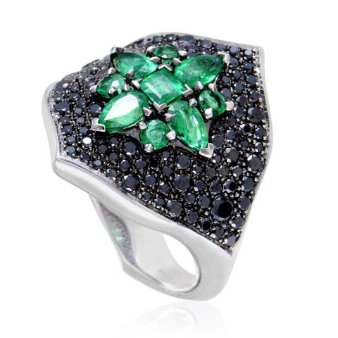 Belle Epoque Women's White Gold Black Diamond & Emerald Ring