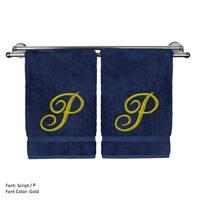 Gold Script Monogrammed Turkish Cotton 16x30-inch Hand Towel (set of 2) - P