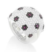 White Gold Floral Gemstone Pave Dome Ring KO25911RBZRU