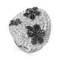 White Gold Black & White Diamond Flower Ring CRR7380