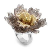 White Gold Multi-Gold Brown & Yellow Diamond Flower Ring CRR7932