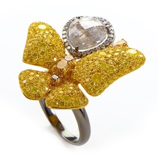 White and Yellow Gold Butterfly Ring