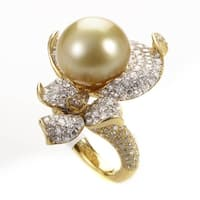 Yellow Gold Diamond & Yellow Pearl Flower Ring KO3-8795RLZZ