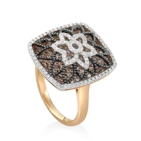 Women's Rose Gold Diamond Flower Ring RD8-10003TT