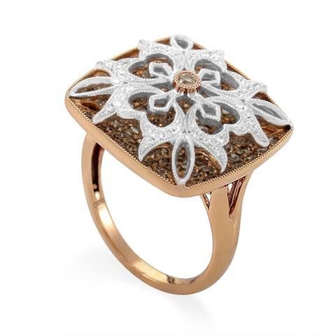 Women's Multi-Gold & Diamond Pave Flower Ring RD8-10005R