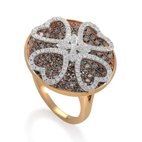 Women's Rose Gold Multi-Diamond Clover Ring RD8-10010R