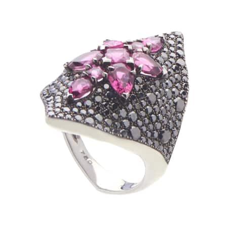 Belle Epoque White Gold Black Diamond & Rubellite Ring