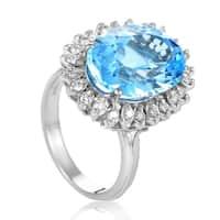 Women's  White Gold Diamond & Topaz Ring CI413