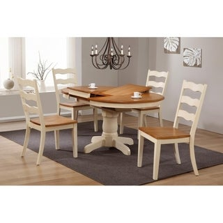 "Iconic Furniture Company 42""x42""x60"" Round Antiqued Caramel Biscotti Transitional Ladder Back 5-Piece Dining Set"