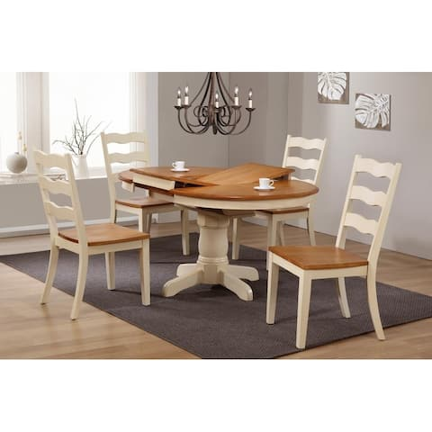 """Iconic Furniture Company 42""""x42""""x60"""" Round Antiqued Caramel Biscotti Transitional Ladder Back 5-Piece Dining Set"""