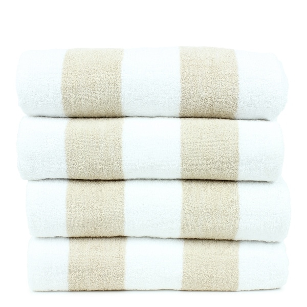 Turkish Cotton 30x60 Inch Cabana Striped Beach Towel Set Of 4
