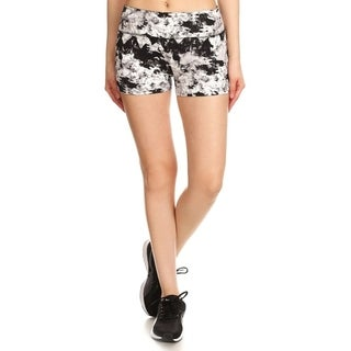 Women's Seamless Slim Fit Spandex Yoga Compression Shorts - Abstract Monochrome