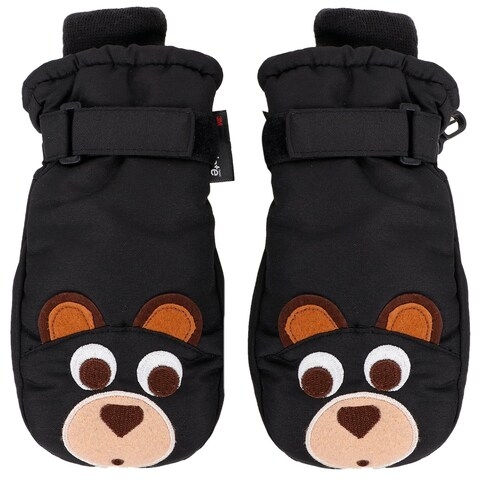 Girls Bear Applique Winter Thinsulate Lined Waterproof Ski Mittens