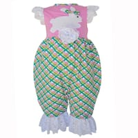 AnnLoren Baby Girls Boutique Cotton Easter Bunny Gingham Romper