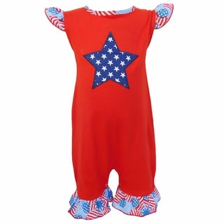 AnnLoren Baby Girls Boutique 4th of July American Flag Romper