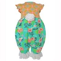 AnnLoren Baby Girls Boutique Green & Peach Floral & Damask Romper