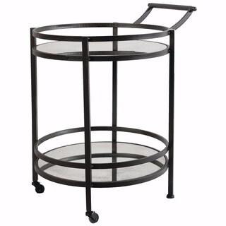 Elegant Round Metal Serving Cart With Castors, Black