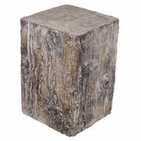 The Curated Nomad Vincente Antique Square Tree Stump Cement Stool