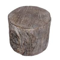 Tempting Round Faux-Beam Cement Stool, Brown