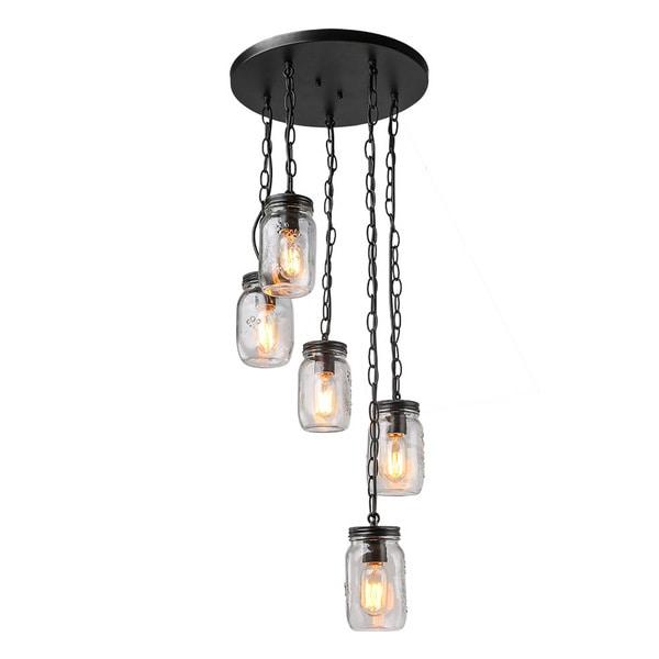 shop lnc 5 light chandelier lighting spiral glass jar ceiling light