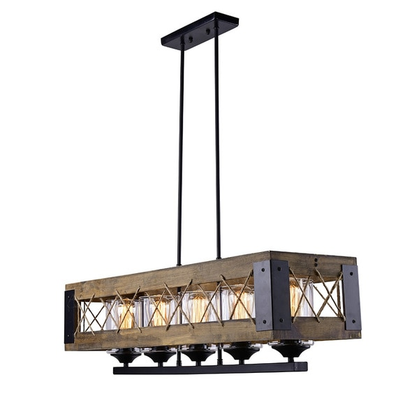 LNC Wood Kitchen Island Lighting, Iron 5-light Pendant Lighting for Dining Room, Living Room, Kitchen Island