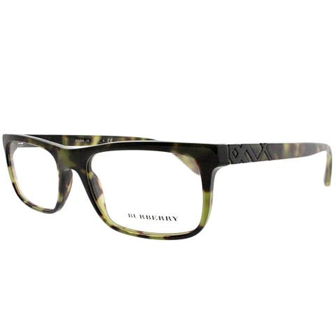 Burberry Rectangle BE 2240 3280 Unisex Green Havana Frame Eyeglasses